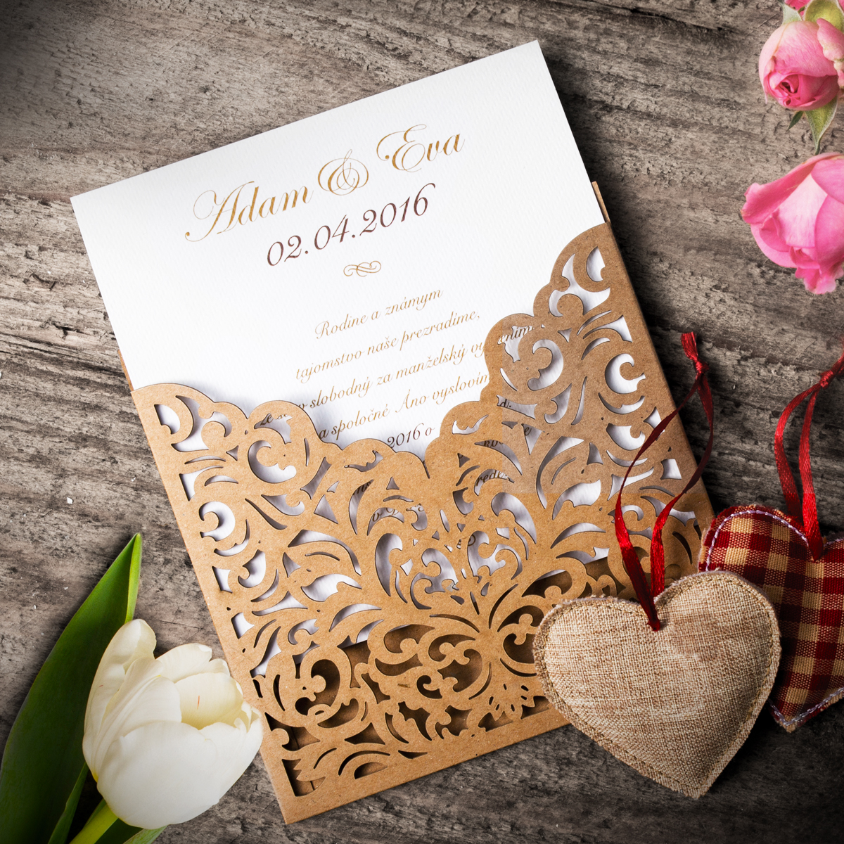 Tlač svadobných oznámení s laserovaným vzorom - grafický návrh od kanovits media