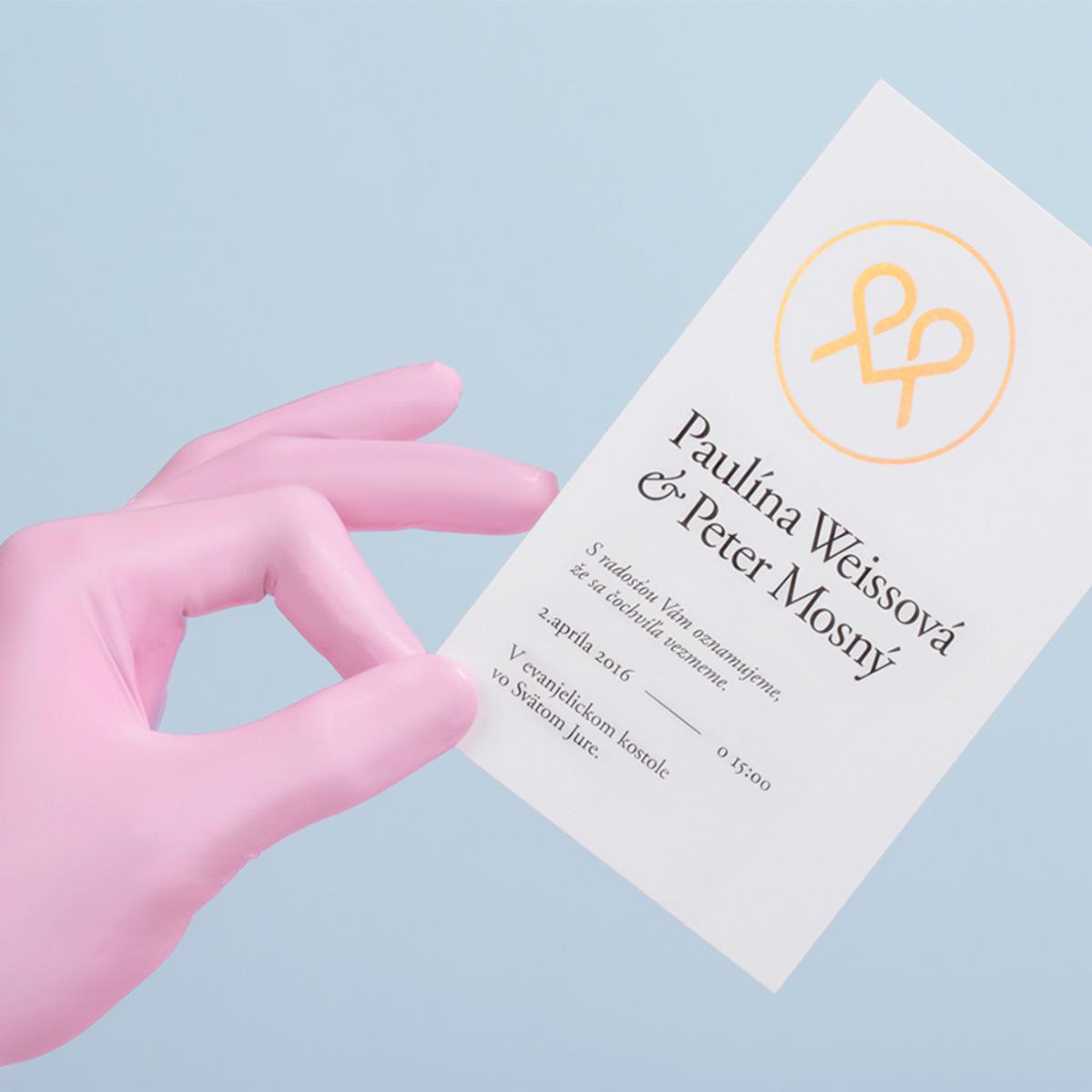 Tlač svadobného oznámenia podľa vlastného návrhu s ražbou
