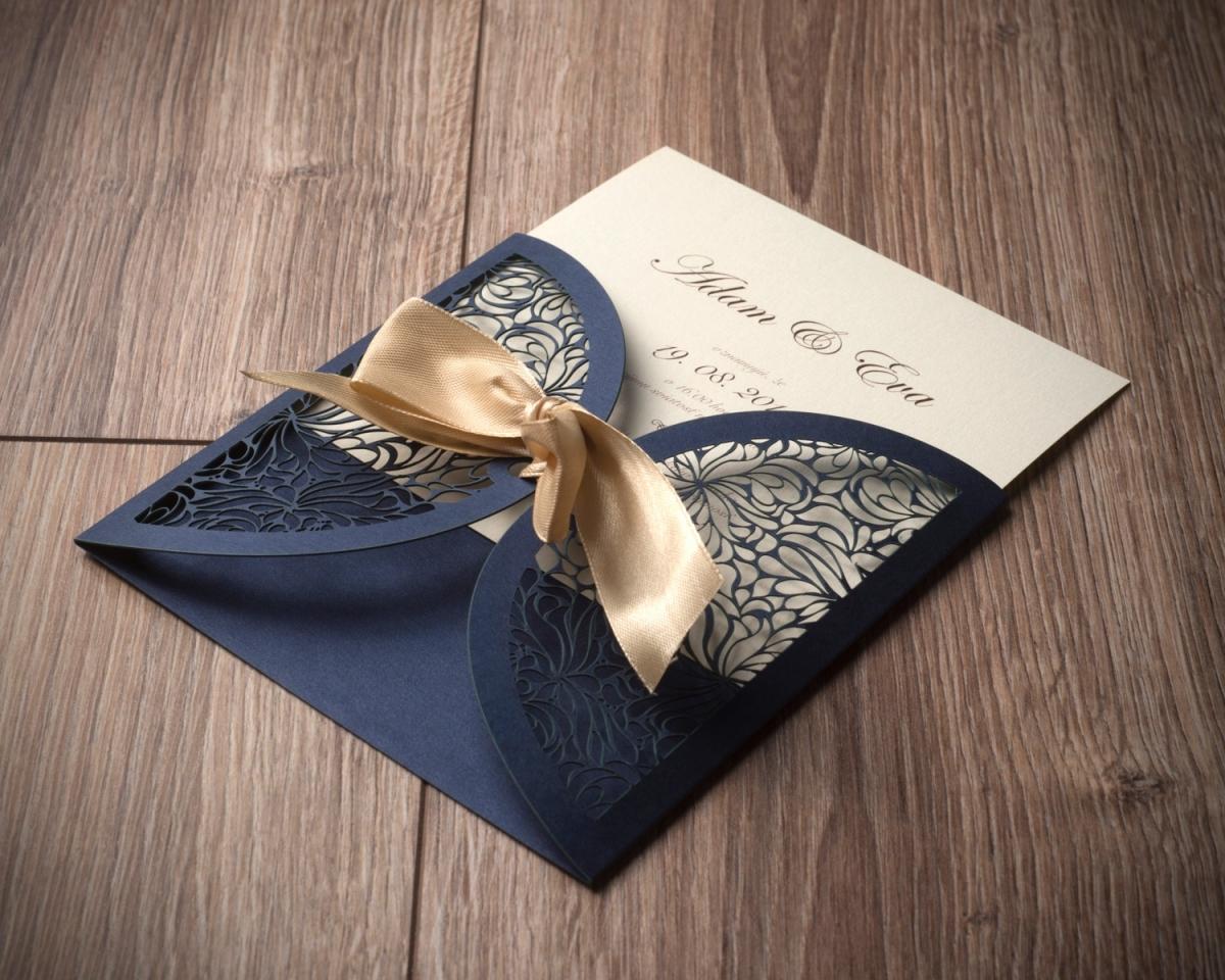 Tlač luxusných svadobných oznámení s mašlou